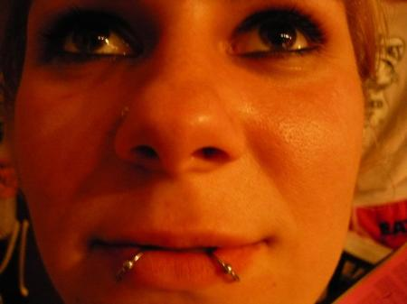 BEARDED LADY PIERCING NORTHAMPTON PROVINCETOWN BODY ART DUAL LOWER LIP CAPTIVE BEAD PIERCINGS