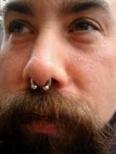 BEARDED LADY PIERCING NORTHAMPTON PROVINCETOWN BODY ART NOSE SEPTUM SURFACE CIRCULAR 8G BARBELL PIERCING